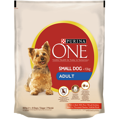 Purina One SmartBlend Dog Food receives the Advisor's second-lowest tier rating of 2 stars. Purina One SmartBlend Small Bites Beef and Rice Formula was selected to represent the other products in the line for this review. The first ingredient in this dog food is beef. Although it's a quality.