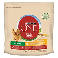 Purina ONE Small Dog torrfoder för små hundar (<10kg Active, rik på kyckling, med ris)