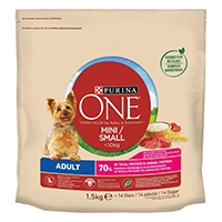 Purina ONE Small Dog torrfoder för små hundar (<10kg Adult, rik på ox, med ris)