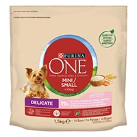 Purina ONE Small Dog torrfoder för små hundar (<10kg Delicate, med lax och ris)