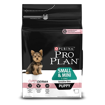 PURINA® PRO PLAN® Small & Mini Puppy Sensitive Skin med OPTIDERMA® Rik på lax