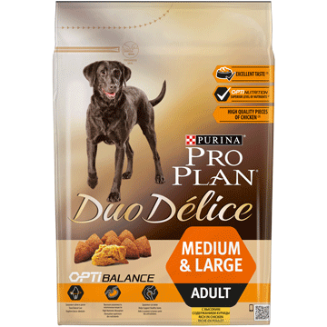 ​PURINA® PRO PLAN® Duo Delice Adult Medium/Large med OPTIBALANCE™ Rik på kyckling